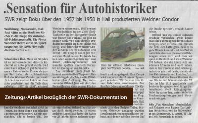 Zeitungsartikel Weidner Condor SWR